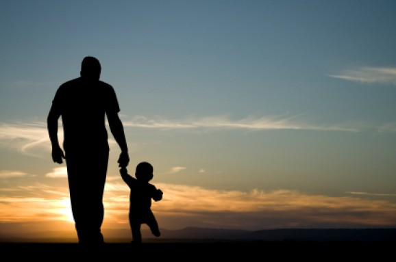 Father and Son Walking Sunset