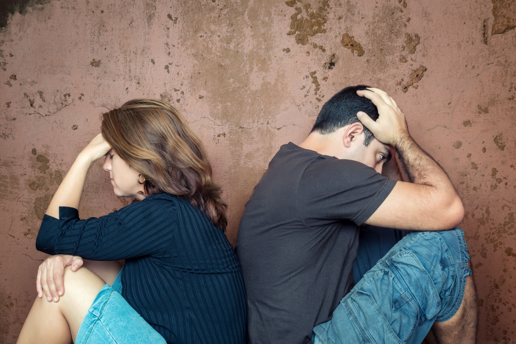 Divorce,problems - Young couple angry at each other
