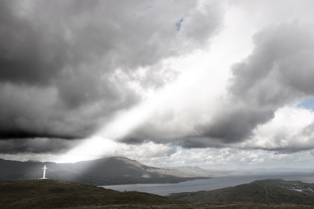 Cross on top of bear island in  Ireland