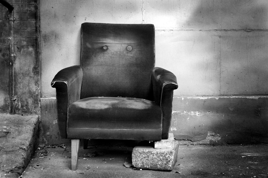 broken chair b/w